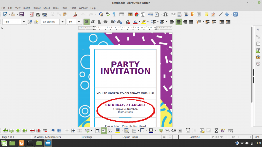 create office document from linux terminal - party invitation opened
