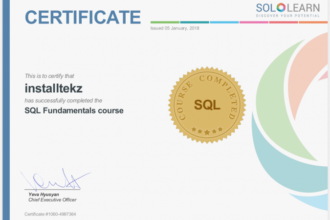 sololearn certificate