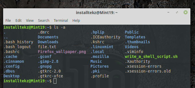 how to work on linux terminal - showing hidden files