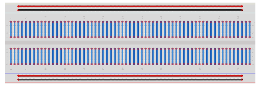 Breadboard Highlighting Power Rails