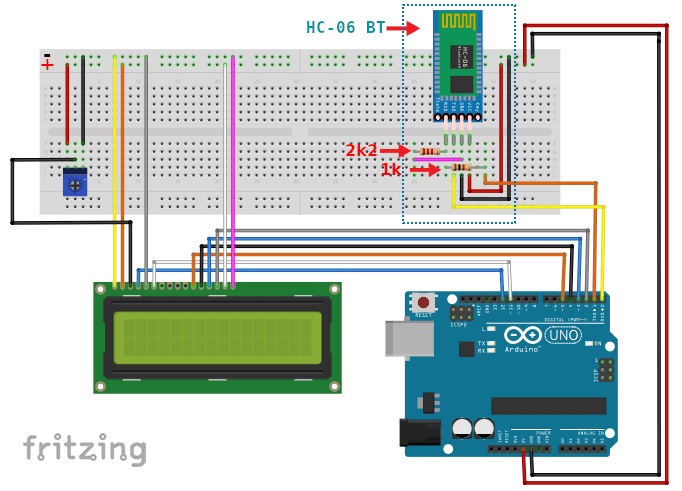Bluetooth Arduino LCD Layout