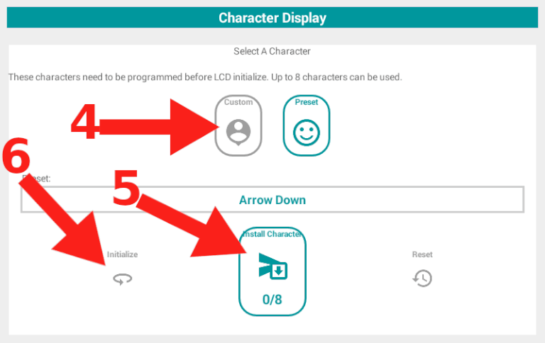 Select Custom LCD Character